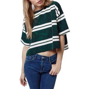 Topshop green striped snakeskin print top
